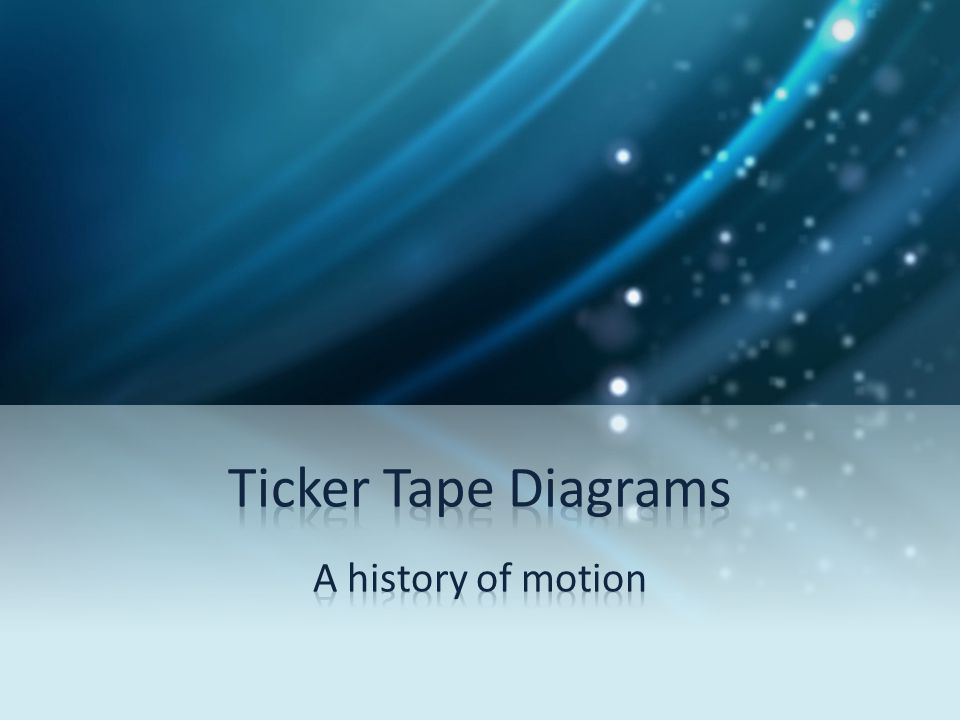 Ticker Tape Diagrams A history of motion