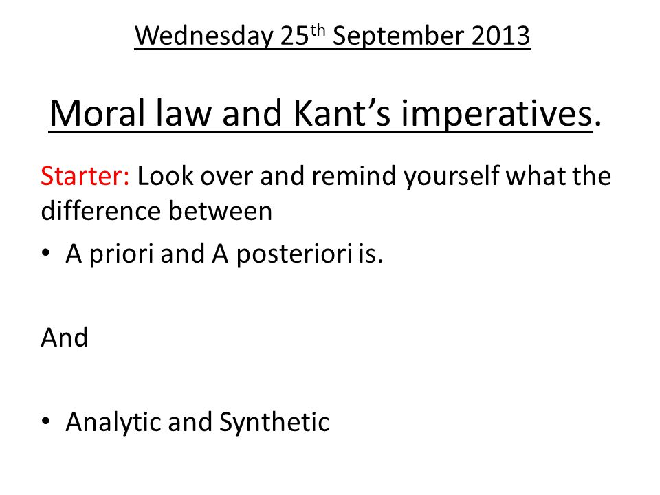 Moral law and Kant's imperatives.