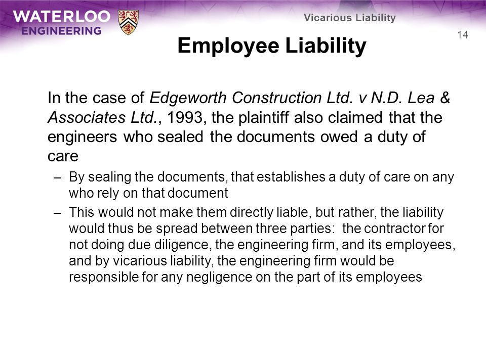 Vicarious Liability Employee Liability.