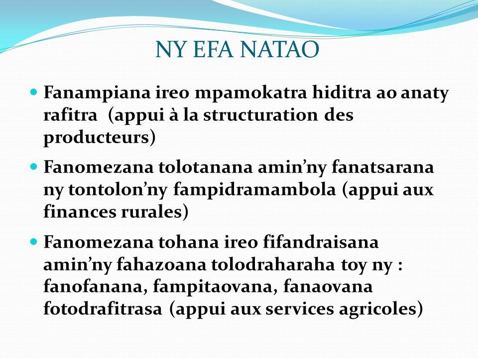 NY EFA NATAO Fanampiana ireo mpamokatra hiditra ao anaty rafitra (appui à la structuration des producteurs)