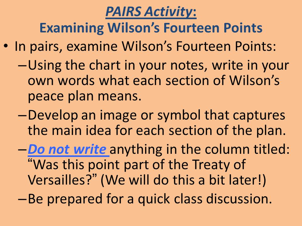 PAIRS Activity: Examining Wilson's Fourteen Points