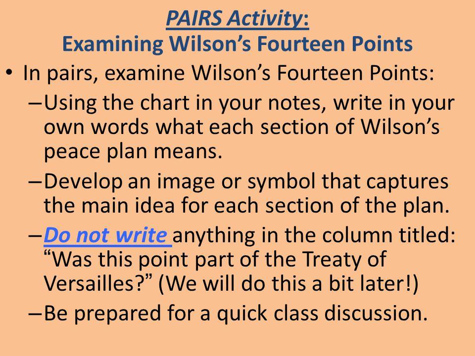PAIRS Activity: Examining Wilson's Fourteen Points