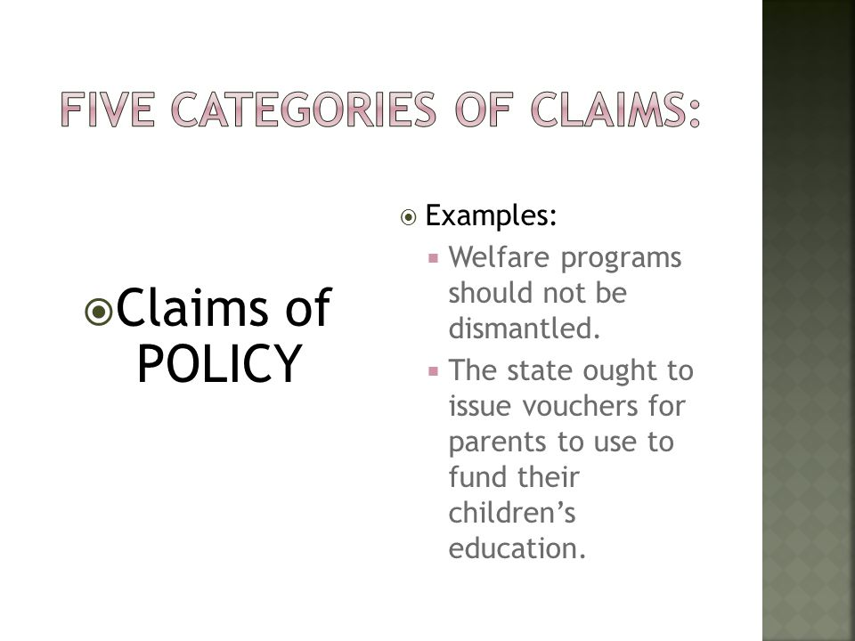 Five Categories of Claims: