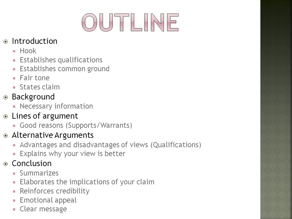 Outline Introduction Background Lines of argument