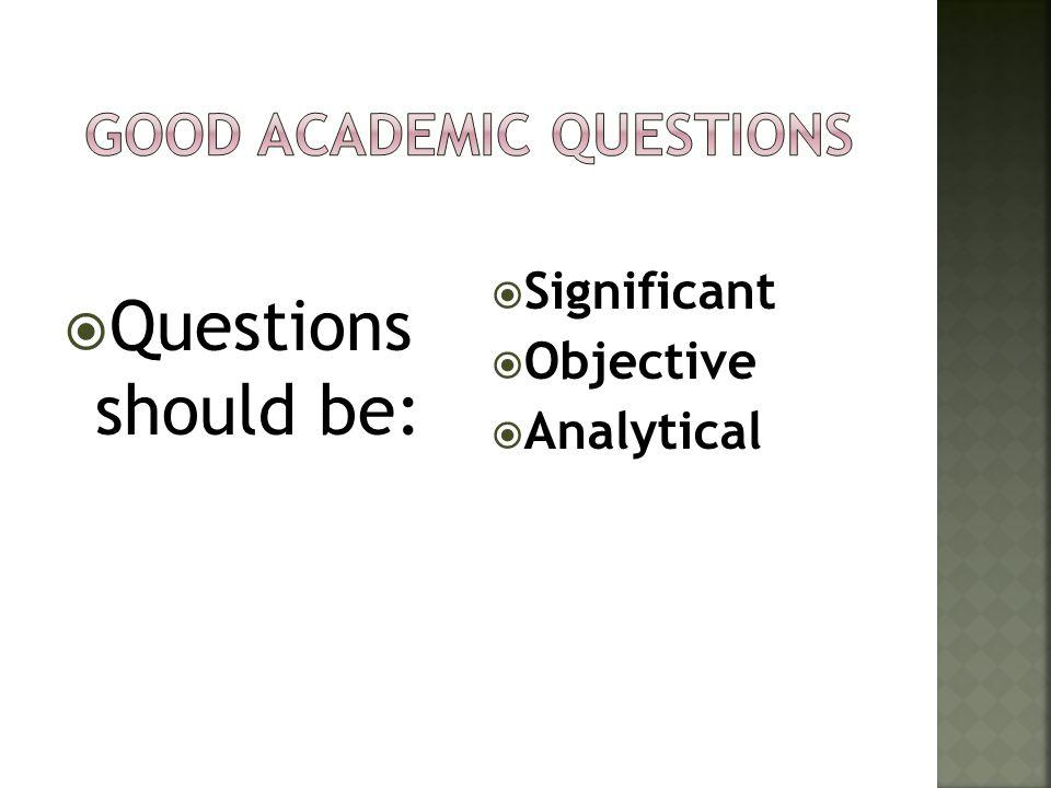 Good Academic Questions