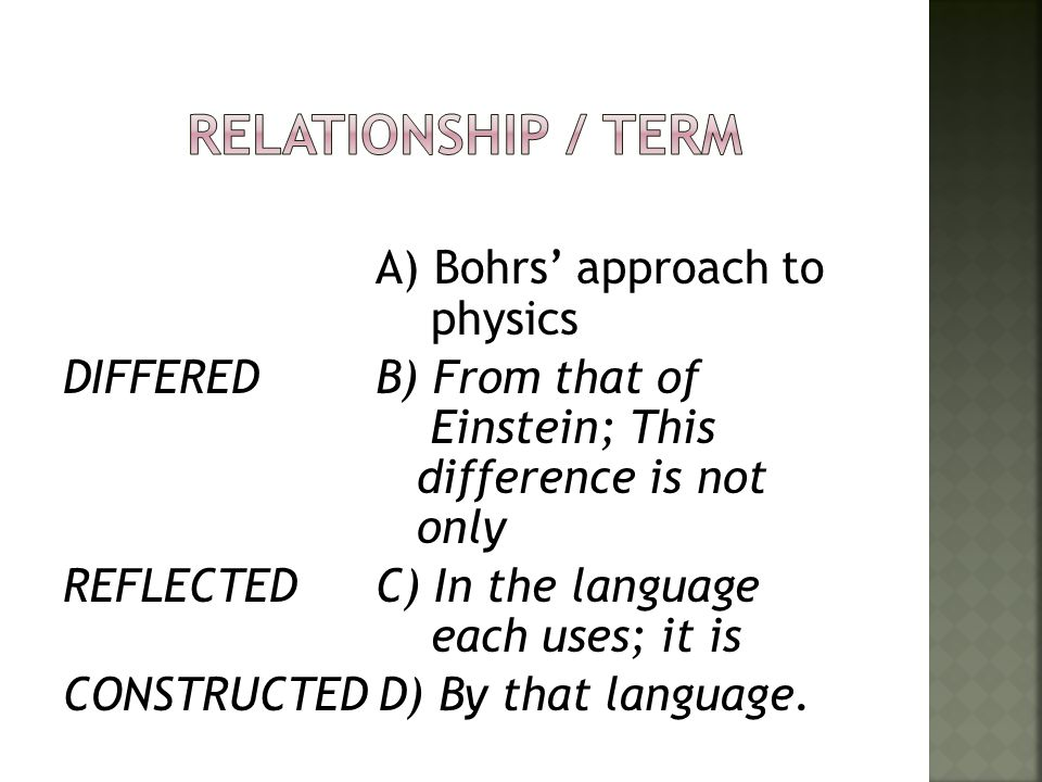 Relationship / Term
