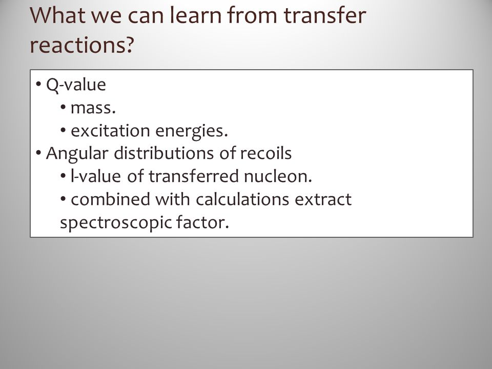 What we can learn from transfer reactions