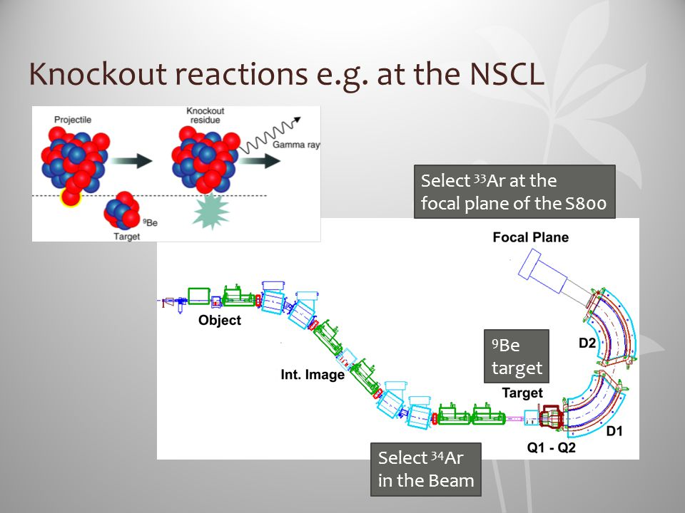 Knockout reactions e.g. at the NSCL