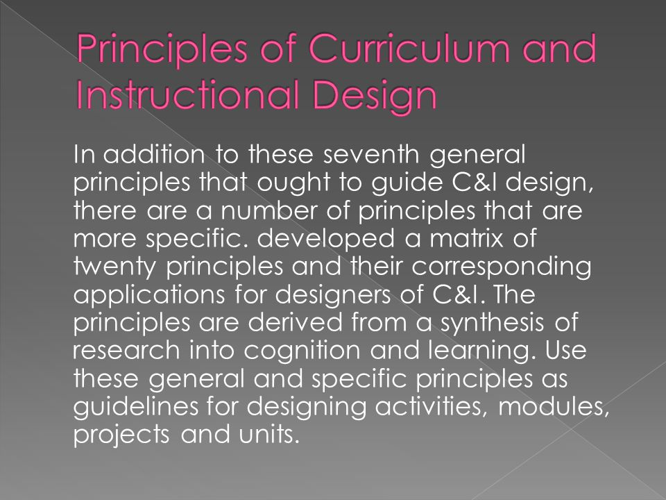 Principles of Curriculum and Instructional Design