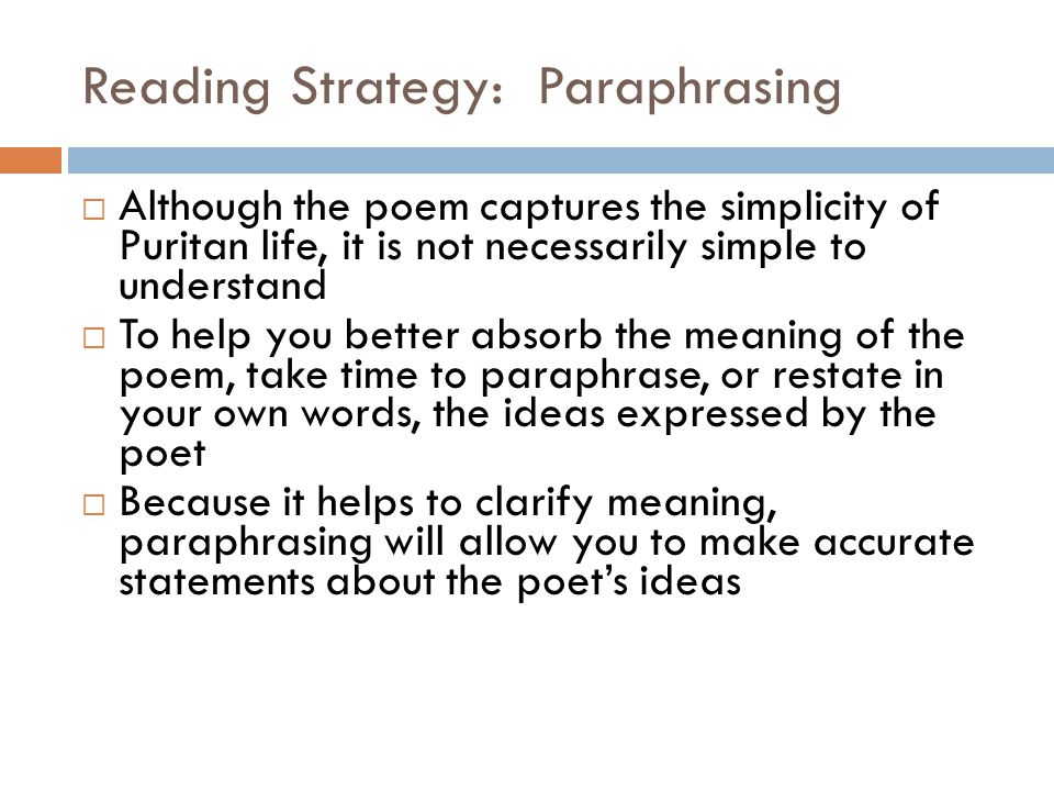 Reading Strategy: Paraphrasing