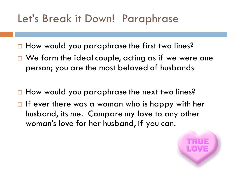 Let's Break it Down! Paraphrase