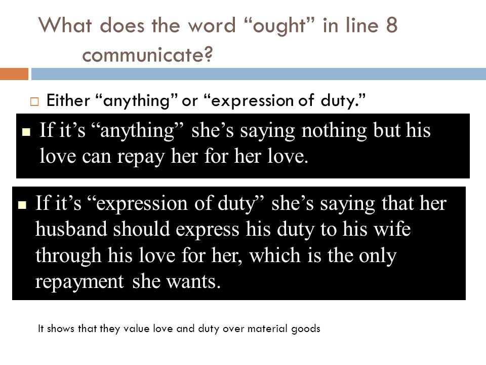 What does the word ought in line 8 communicate