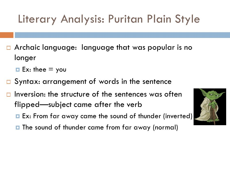 Literary Analysis: Puritan Plain Style