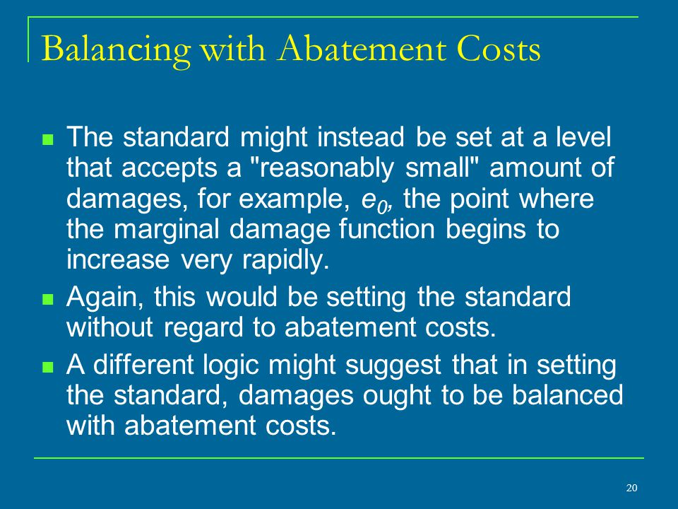 Balancing with Abatement Costs