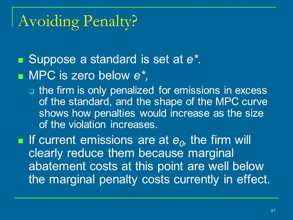 Avoiding Penalty Suppose a standard is set at e*.