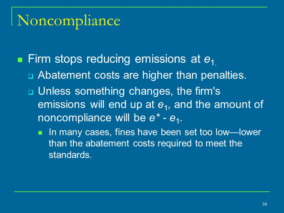 Noncompliance Firm stops reducing emissions at e1.