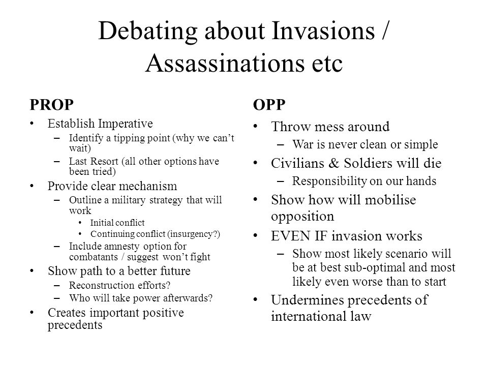 Debating about Invasions / Assassinations etc