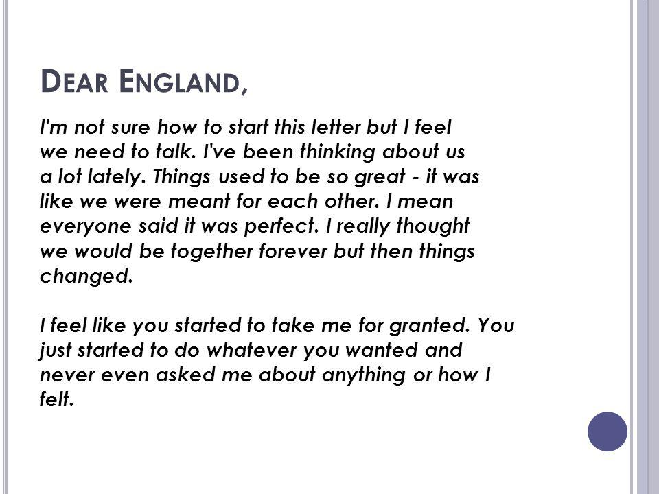 Dear England,