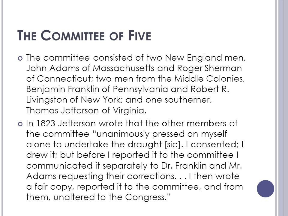 The Committee of Five