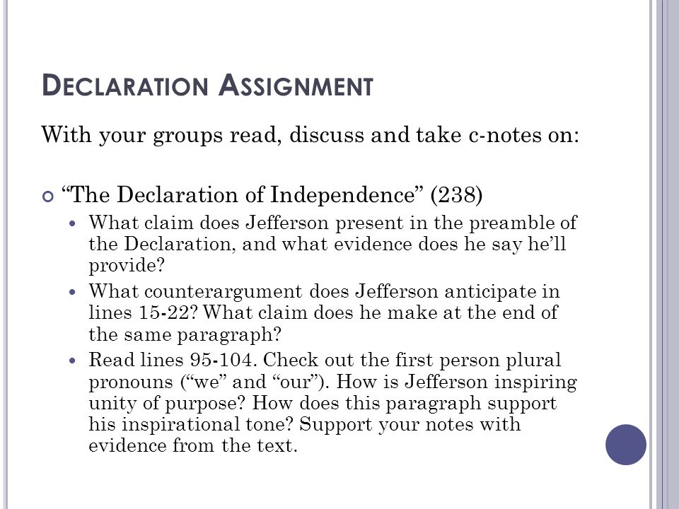 Declaration Assignment