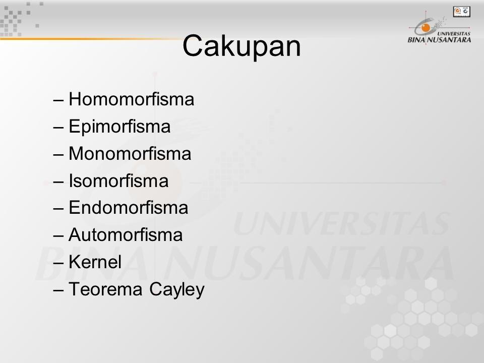 Cakupan Homomorfisma Epimorfisma Monomorfisma Isomorfisma Endomorfisma