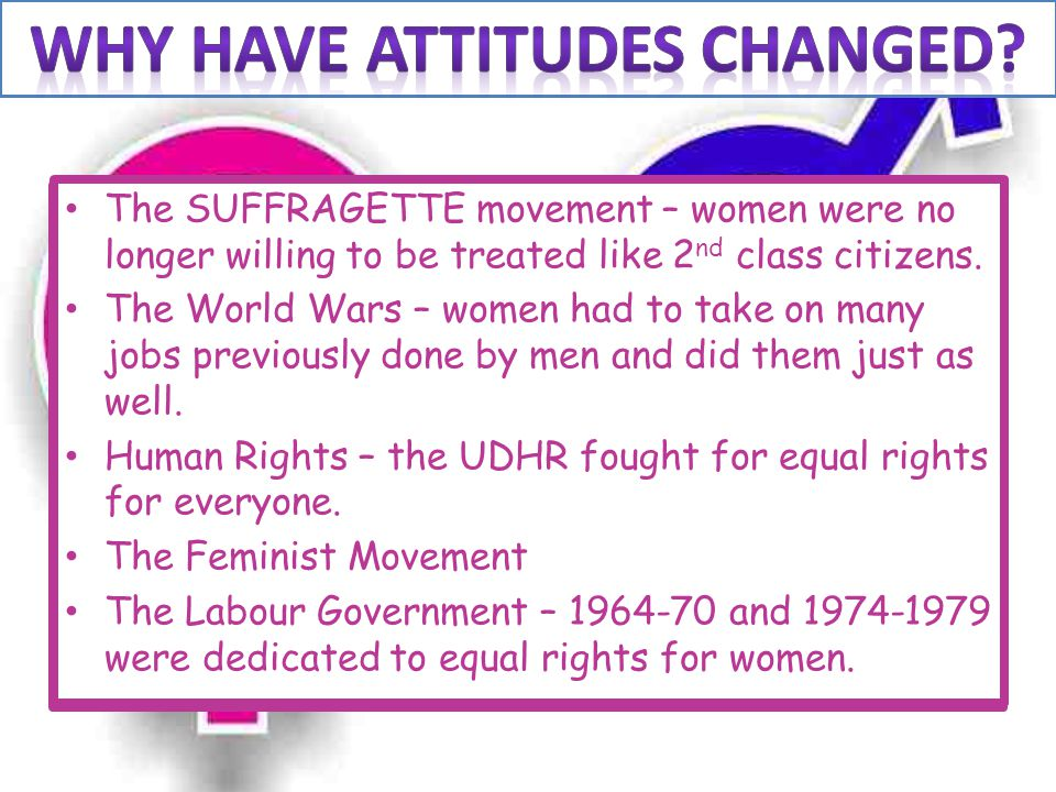 WHY have attitudes changed