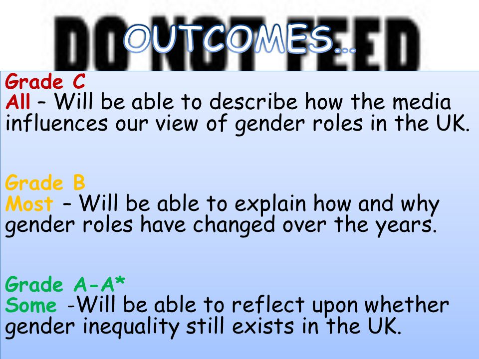 OUTCOMES… Grade C. All – Will be able to describe how the media influences our view of gender roles in the UK.