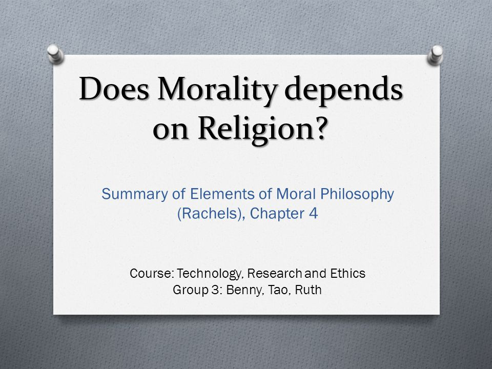 Does Morality depends on Religion