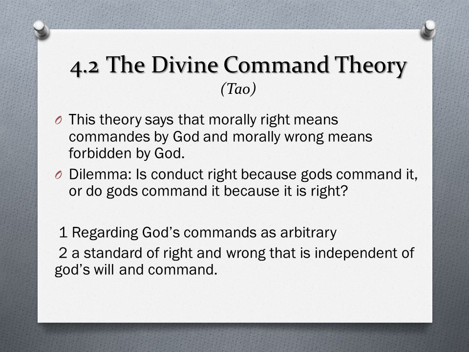 4.2 The Divine Command Theory (Tao)