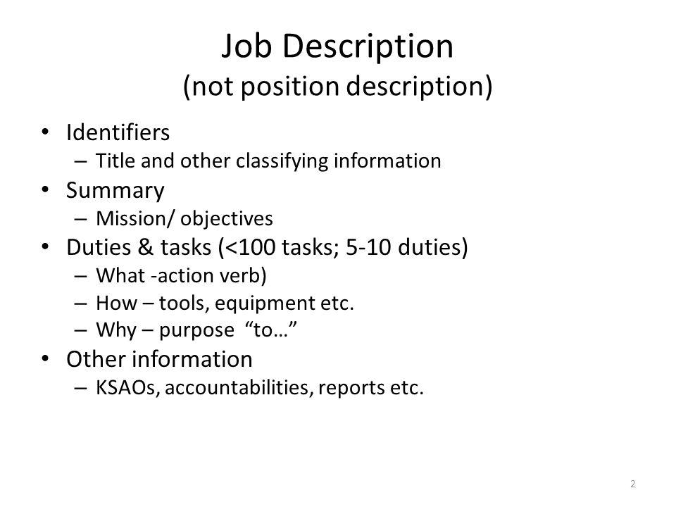 Job Description (not position description)