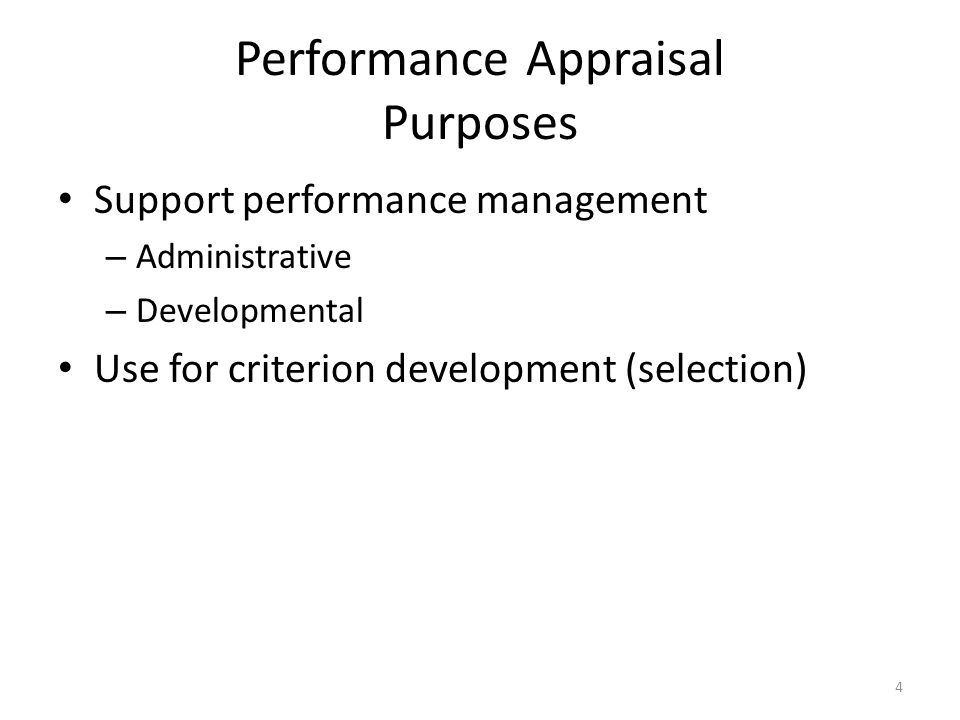 Performance Appraisal Purposes