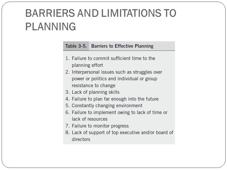 BARRIERS AND LIMITATIONS TO PLANNING