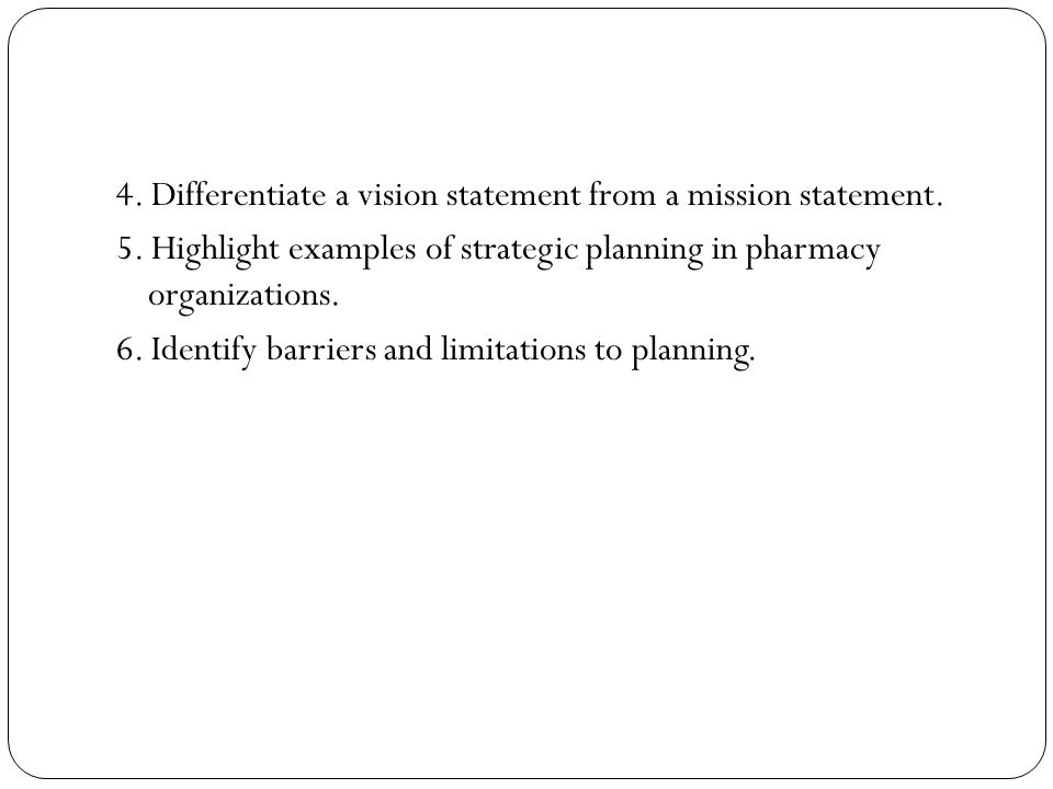 4. Differentiate a vision statement from a mission statement. 5