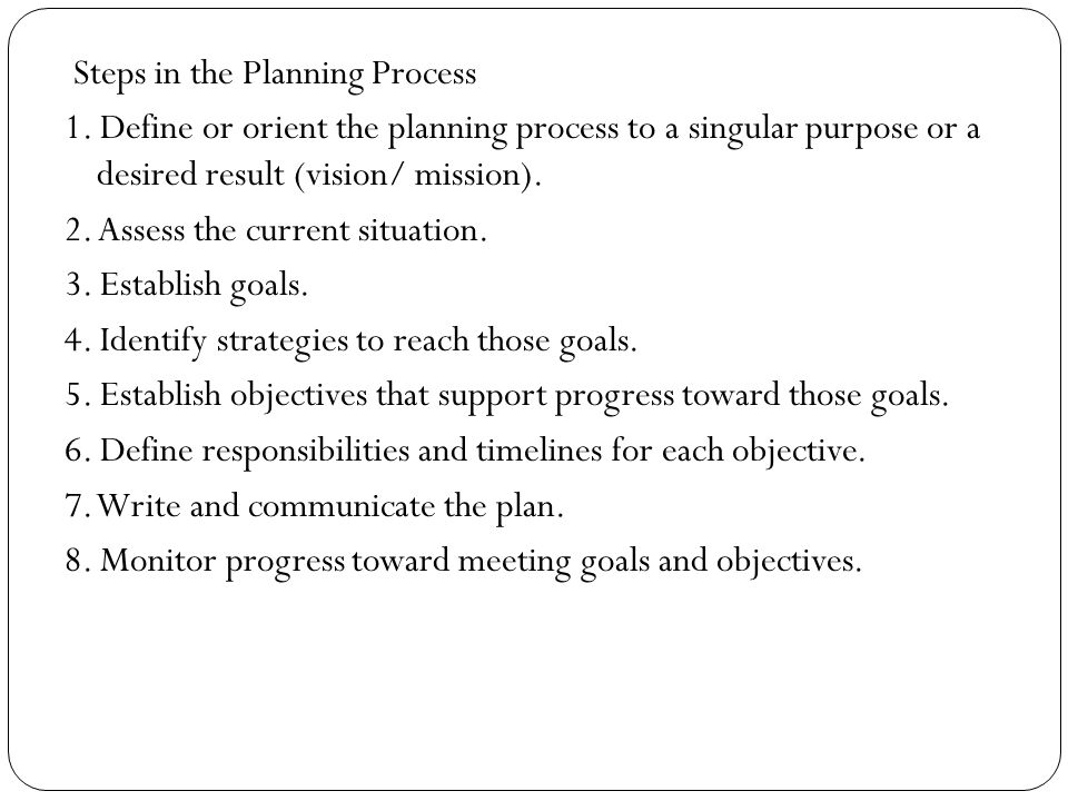 Steps in the Planning Process 1