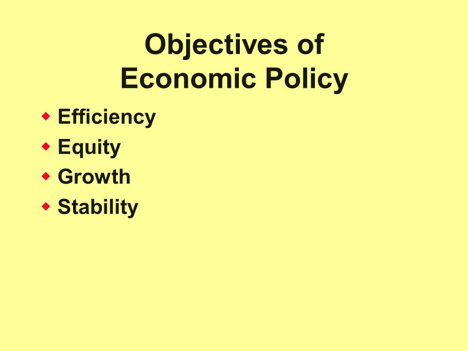 Objectives of Economic Policy