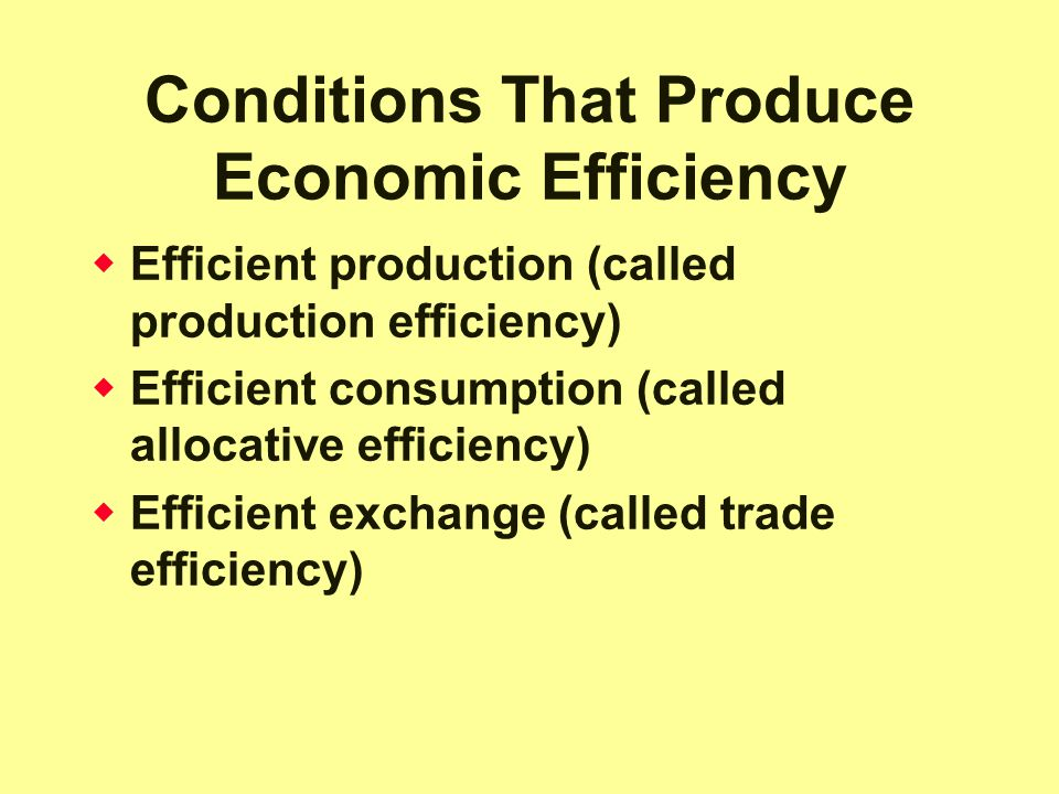 Conditions That Produce Economic Efficiency