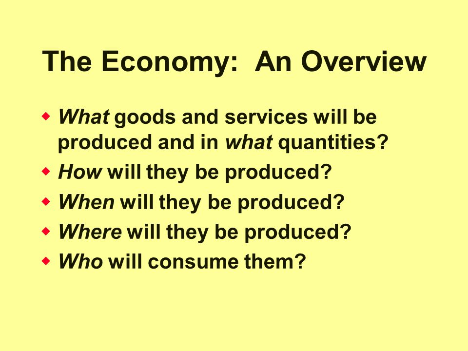 The Economy: An Overview