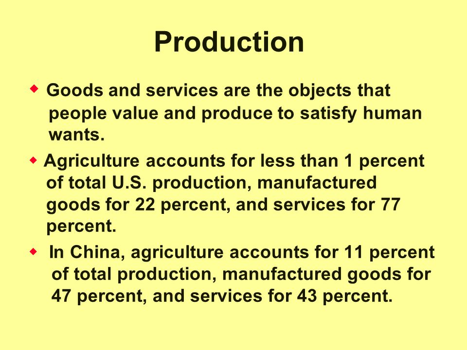Production Goods and services are the objects that people value and produce to satisfy human wants.