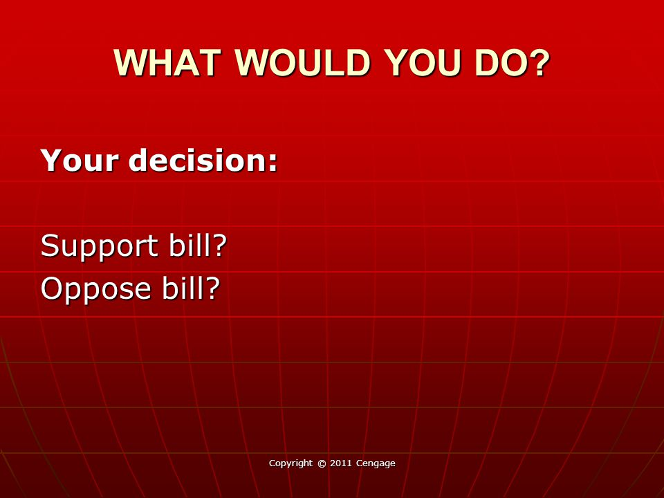 WHAT WOULD YOU DO Your decision: Support bill Oppose bill