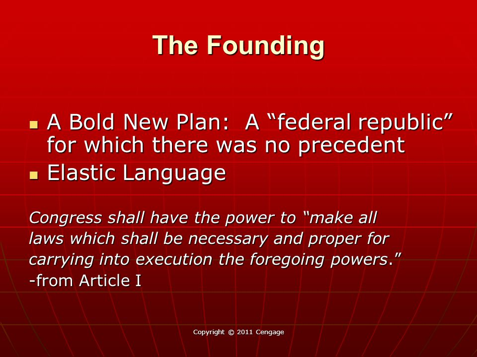The Founding A Bold New Plan: A federal republic for which there was no precedent. Elastic Language.