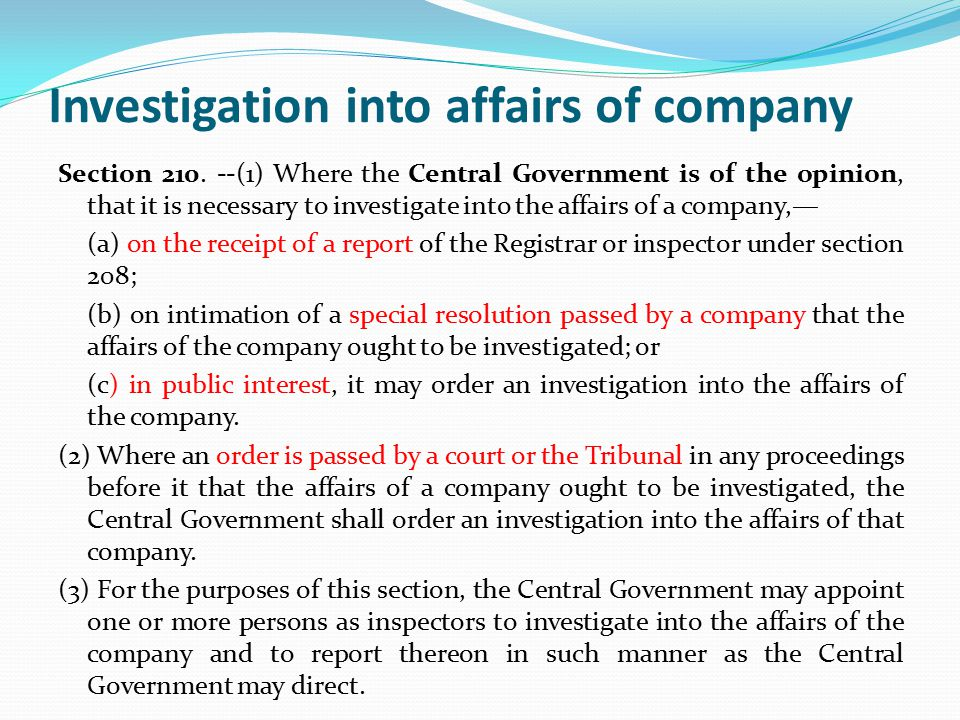 Investigation into affairs of company