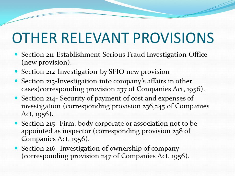 OTHER RELEVANT PROVISIONS
