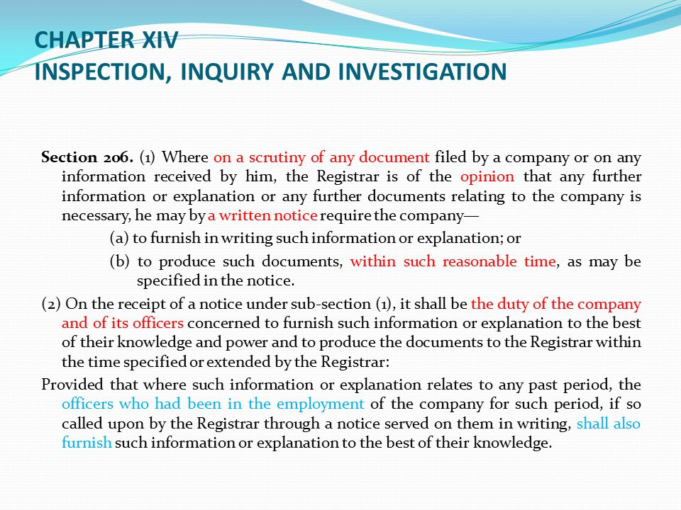 CHAPTER XIV INSPECTION, INQUIRY AND INVESTIGATION
