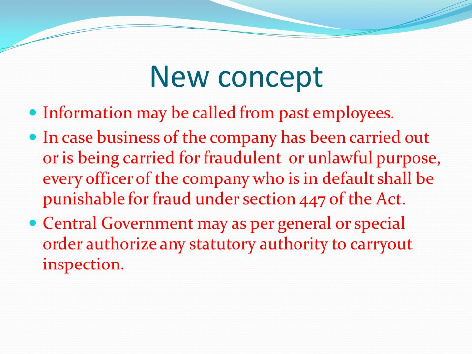 New concept Information may be called from past employees.