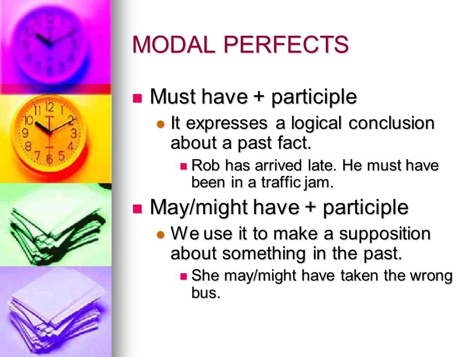 MODAL PERFECTS Must have + participle May/might have + participle