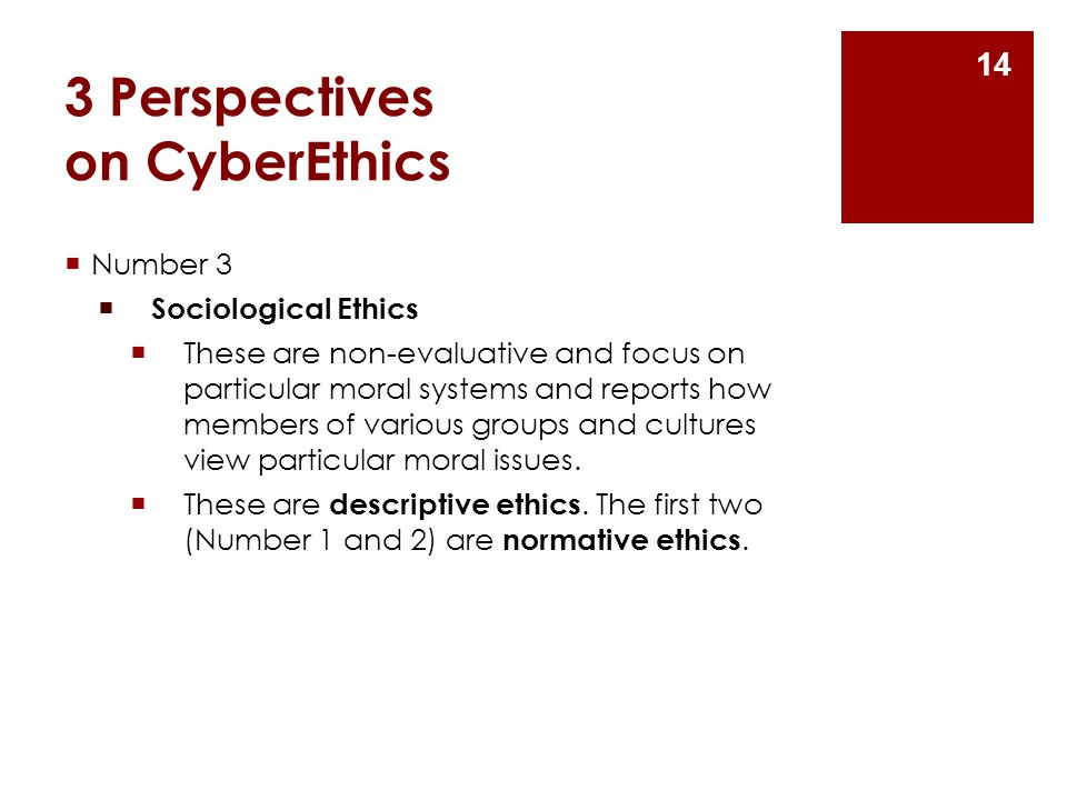 3 Perspectives on CyberEthics