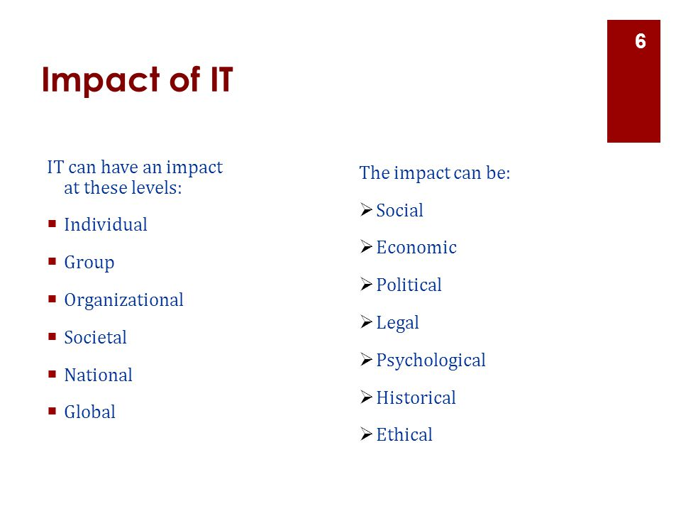 Impact of IT IT can have an impact at these levels: The impact can be: