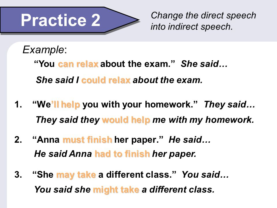 Practice 2 Example: Change the direct speech into indirect speech.