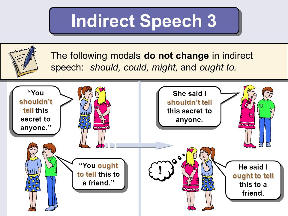 Indirect Speech 3 The following modals do not change in indirect speech: should, could, might, and ought to.