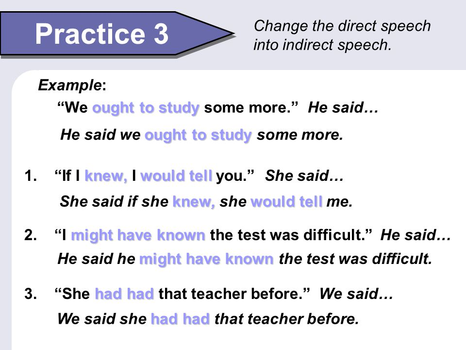 Practice 3 Change the direct speech into indirect speech. Example: